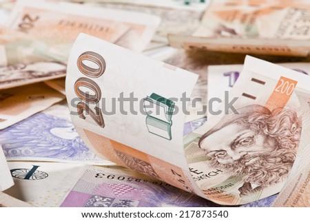 czech money, czech krown, - stock photo