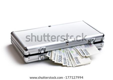 czech money in aluminium case on white background - stock photo