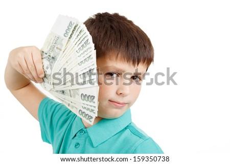 czech money, man boy holding a fan from czech crown banknotes - stock photo