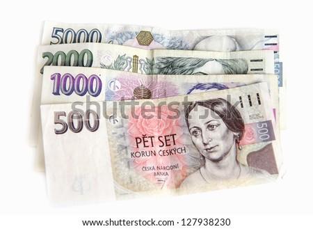 Czech money on white background - stock photo