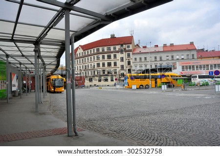 CZECH PRAGUE MARCH 7: Bus station on March 7 2015 in Prague,Czech Republic. - stock photo