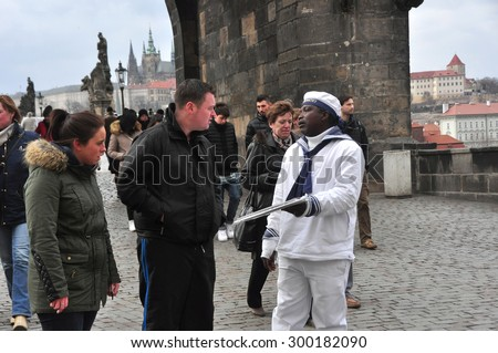CZECH PRAGUE MARCH 7: Unidentified male suggesting boat city walk on old town square on March 7 2015 in Prague,Czech Republic. - stock photo