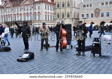 CZECH ,PRAGUE MARCH 7: Unidentified street musician band on old town square on March 7 2015 in Prague,Czech Republic. - stock photo