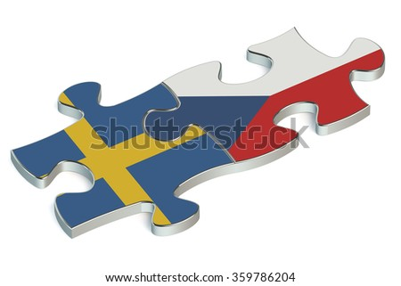 Czech Republic and Sweden puzzles from flags
