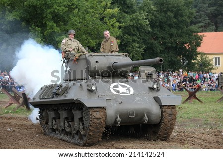 CZECH REPUBLIC - AUGUST 30 : Tank Day in Military Technical Museum LeAÂ¡any  on August 30, 2014 Czech Republic  - stock photo