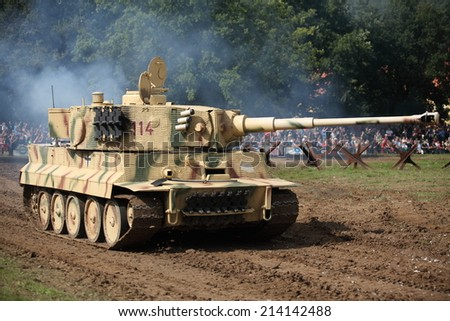 CZECH REPUBLIC - AUGUST 30 : Tank Day in Military Technical Museum LeAÂ¡any  on August 30, Czech Republic  - stock photo