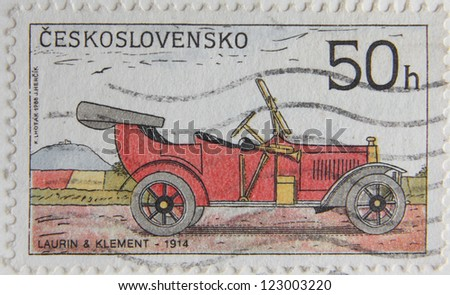 CZECH REPUBLIC - CIRCA 1988: A Post stamp printed by Czechoslovakia shows old-time classical car Laurin and Klement, circa 1988 - stock photo