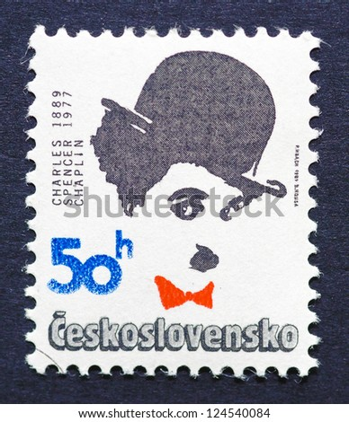 CZECH REPUBLIC � CIRCA 1989: a postage stamp printed in Czech Republic showing an image of Charles Chaplin, circa 1989. - stock photo