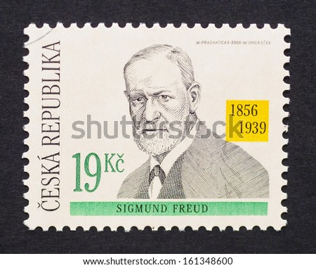 CZECH REPUBLIC - CIRCA 2006: a postage stamp printed in Czech Republic showing an image of Sigmund Freud, circa 2006.  - stock photo