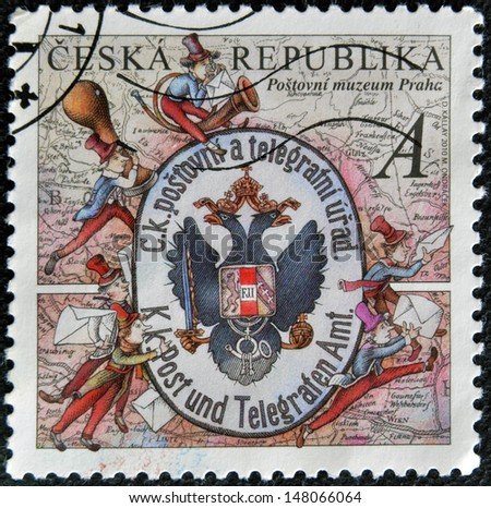 CZECH REPUBLIC - CIRCA 2010: A stamp printed in Czech Republic shows Post Office shield on map, circa 2010 - stock photo