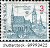 CZECH REPUBLIC - CIRCA 1993: A stamp printed in the Czech Republic shows Cesky Krumlov, circa 1993 - stock photo