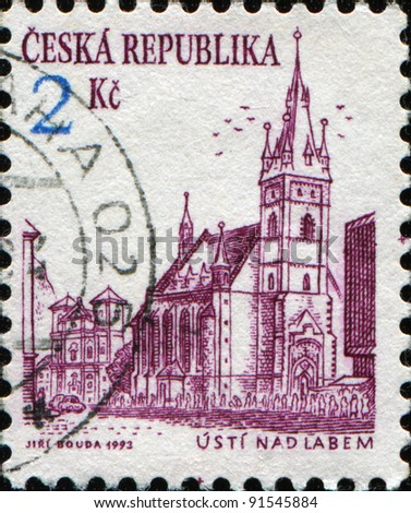 CZECH REPUBLIC - CIRCA 1993: A stamp printed in the Czech Republic shows Dean Gothic church in the center of Usti nad Labem, circa 1993