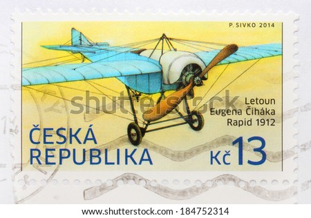 CZECH REPUBLIC - CIRCA 2014: A stamp printed in The Czech Republic shows image of a rare plane Rapid owned famous czech flyer Eugen Cihak from 1912, series, circa 2014  - stock photo