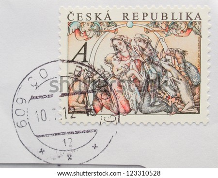 CZECH REPUBLIC, CIRCA 2011 - Christmas mail post stamp depicting the Holy Family in the manger, released in the Czech Republic, circa 2011 - stock photo