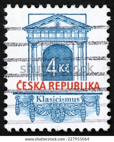 CZECH REPUBLIC - CIRCA 1996: post stamp printed in Czechoslovakia (Ceska) shows classicism (klasicismus), falzum; classic portal with festoon; Scott 2968 A1093 4k blue red, circa 1996 - stock photo