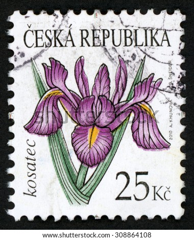 CZECH REPUBLIC - CIRCA 2010: post stamp printed in Czechoslovakia (Ceska) shows illustration of purple iris (kosatec) flower on white; Scott 3466 25k, circa 2010 - stock photo