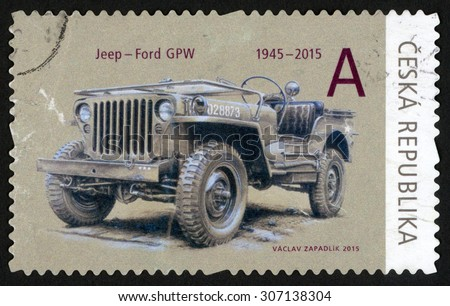 CZECH REPUBLIC - CIRCA 2015: post stamp printed in Czechoslovakia (Ceska) shows Jeep Ford GPW car; 1945-2015; they brought freedom series; circa 2015 - stock photo