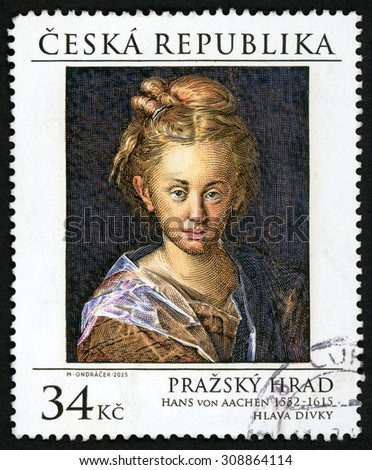 CZECH REPUBLIC - CIRCA 2015: post stamp printed in Czechoslovakia (Ceska) shows painting Head of a woman from Hans von Aachen (1552-1615); portrait of girl; Prague Castle; 34k, circa 2015 - stock photo