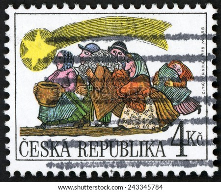 CZECH REPUBLIC - CIRCA 1998: post stamp printed in Czechoslovakia (Ceska) shows people following star; Christmas; festival of ease comfort joy generosity; Scott 3061 A1148 4k, circa 1998 - stock photo