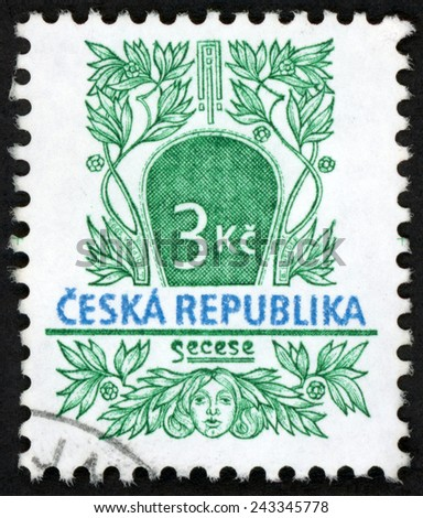 CZECH REPUBLIC - CIRCA 1995: post stamp printed in Czechoslovakia (Ceska) shows secession (secese); woman head and flowers; historical architectural style; Scott 2967 3k green, circa 1995 - stock photo