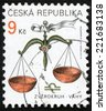 CZECH REPUBLIC - CIRCA 2001: post stamp printed in Czechoslovakia (Ceska) shows zverokruh vahy; horoscope sign libra; astrological zodiac symbol; Scott 3065 A1149 9k brown green, circa 2001 - stock photo