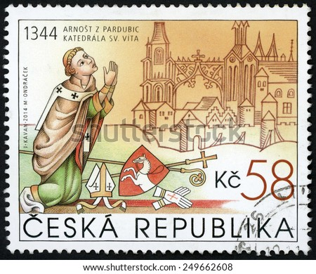 CZECH REPUBLIC - CIRCA 2014: stamp printed in Ceska (Czechoslovakia) shows kneeling Ernest of Pardubice (1st archbishop of Prague) & St. Vitus Cathedral; 58k; circa 2014 - stock photo