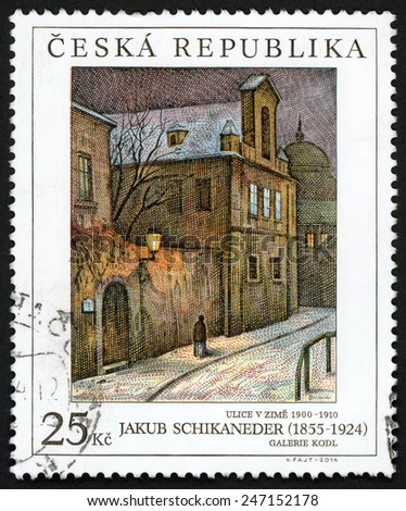 CZECH REPUBLIC - CIRCA 2014: stamp printed in Ceska (Czechoslovakia) shows painting Ulice v zime 1900-1910 (Street in winter) from Jakub Schikaneder (1855-1924); galerie Kodl; 25k; circa 2014 - stock photo