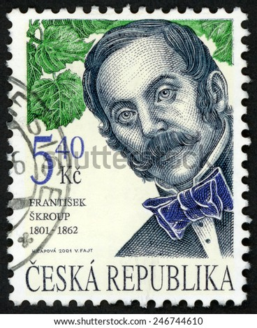 CZECH REPUBLIC - CIRCA 2001: stamp printed in Ceska (Czechoslovakia) shows portrait of Frantisek Skroup (1801-1862) composer, conductor and green leaves; famous men; Scott 3147 A1195 5.40k; circa 2001 - stock photo