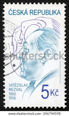 CZECH REPUBLIC - CIRCA 2000: stamp printed in Ceska (Czechoslovakia) shows portrait of Vitezslav Nezval (1900-1958) writer poet, Czech personalities; Scott 3118 A1175 5k; circa 2000 - stock photo