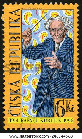 CZECH REPUBLIC - CIRCA 1998: stamp printed in Ceska (Czechoslovakia) shows Rafael Kubelik (1914-1996) composer, conductor, music director; famous men; Scott 3052 A1145 6k; circa 1998 - stock photo