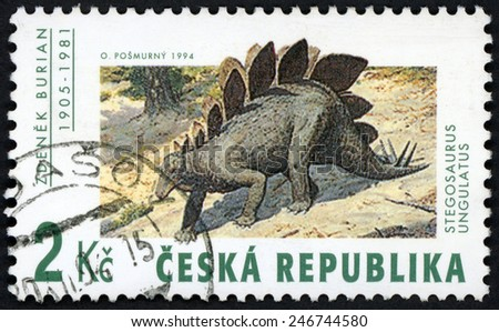 CZECH REPUBLIC - CIRCA 1994: stamp printed in Ceska (Czechoslovakia) shows work of Zdenek Burian (1905-1981): Stegosaurus Ungulatus; prehistorical animals dinosaurs; Scott 2922 A1071 2k; circa 1994 - stock photo