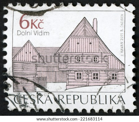 CZECH REPUBLIC - CIRCA 2012: stamp printed in Czechoslovakia (Ceska) shows homestead od village Dolni Vidim; folk architecture series; two storey loft monument; timbered house; 6k black, circa 2012 - stock photo