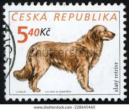 CZECH REPUBLIC - CIRCA 2001: stamp printed in Czechoslovakia (Ceska) shows illustration of standing dog golden retriever (zlaty retrivr) on white background; Scott 3151 A1197 5.40k brown, circa 2001 - stock photo
