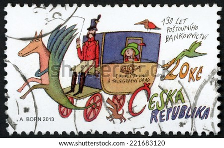 CZECH REPUBLIC - CIRCA 2013: stamp printed in Czechoslovakia (Ceska) shows illustration of vintage mail coach, horse, coachman, passenger, two birds & dog; 130 years of postal banking; 20k, circa 2013 - stock photo