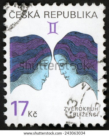 CZECH REPUBLIC - CIRCA 2002: stamp printed in Czechoslovakia (Ceska) shows zverokruh blizenci; horoscope sign Gemini; astrological zodiac symbol; Scott 3073 A1149 17k purple blue violet, circa 2002 - stock photo