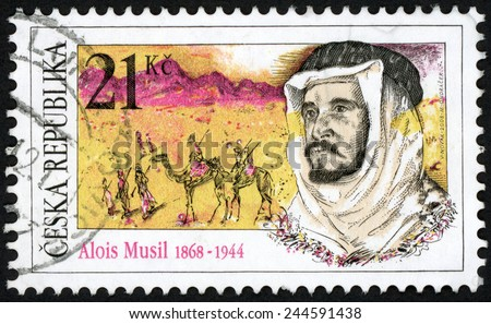 CZECH REPUBLIC - CIRCA 2008: stamp printed in Czechosovakia (Ceska) shows bearded man in arab dress Alois Musil (1868-1944) geographer orientalist traveler writer explorer; Scott 3393 21k; circa 2008 - stock photo