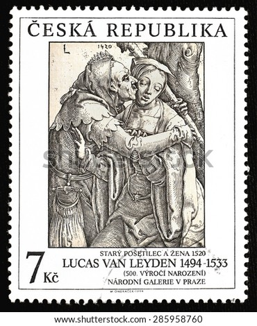 CZECH REPUBLIC - CIRCA 1994: The stamp printed in The Czech republic showing art of Lucas van Leyden (1494 - 1533) An Old Fool And A Woman - created in 1520; value 7 czech crowns; Prague circa 1994 - stock photo