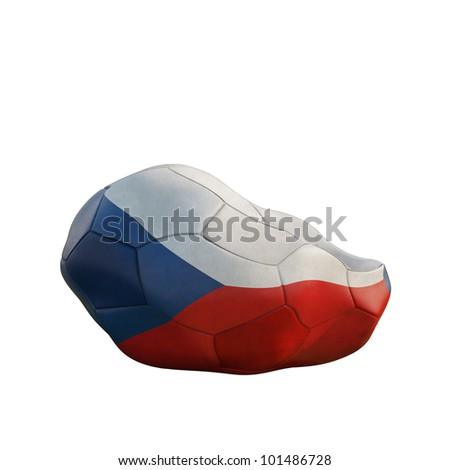 czech republic deflated soccer ball isolated on white - stock photo