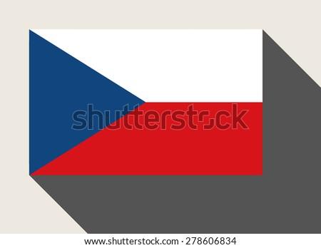Czech Republic flag in flat web design style. - stock photo