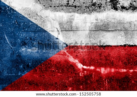 Czech Republic flag on old grunge wall background - stock photo