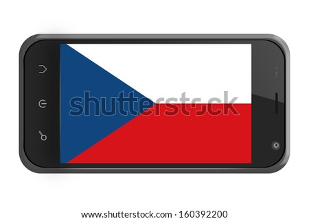 Czech Republic flag on smartphone screen isolated on white - stock photo
