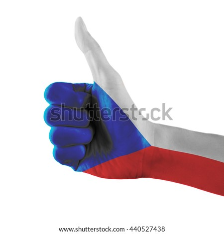 Czech Republic flag painted hand showing thumbs up sign on isolated white background with clipping path - stock photo