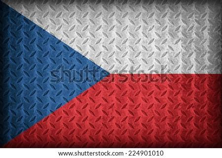 Czech Republic flag pattern on the diamond metal plate texture ,vintage style - stock photo