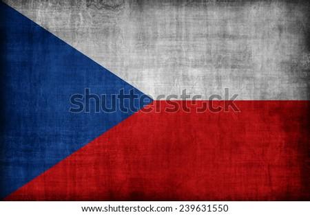 Czech Republic flag pattern  ,retro vintage style - stock photo