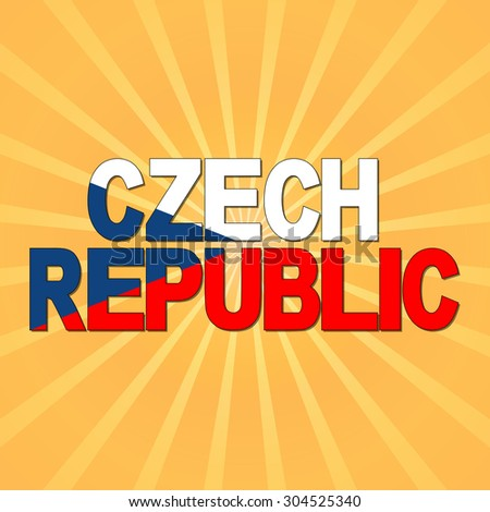 Czech Republic flag text with sunburst illustration - stock photo