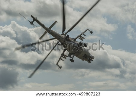 CZECH REPUBLIC - JULY 19, 2014: Military helicopter Mi-24/35 flying during exercise