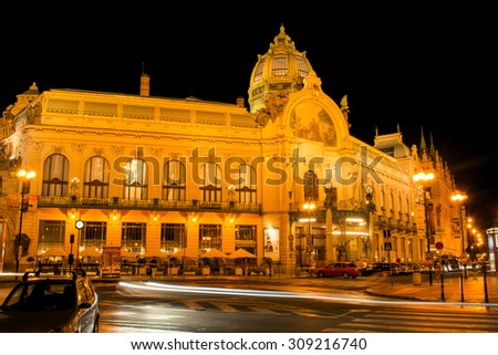 Czech Republic, Prague. 19 August 2015. The Municipal House in Prague in the evening. The building includes a number of rooms and a large hall named Berdzhiha Smetana for concerts and dance parties. - stock photo