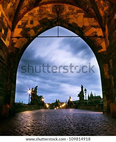czech republic prague - charles bridge in summer morning - stock photo