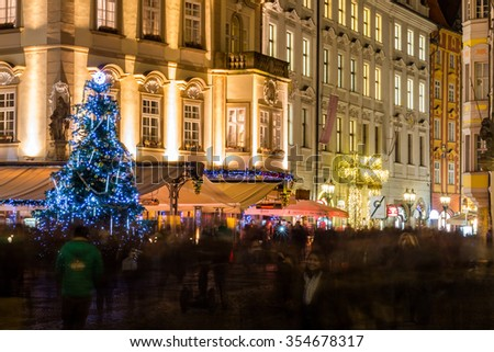Czech Republic, Prague, December 22, 2015: Christmas Mood on the Old Town Square, Prague, Czech Republic