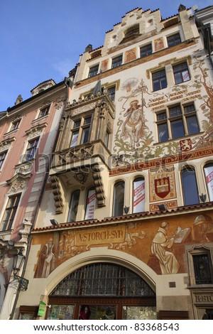 Czech Republic, Prague. Elements of buildings, the city's architecture - stock photo